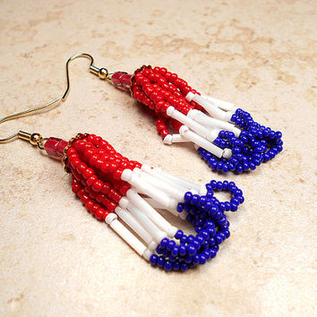 Red White and Blue Earrings Seed Beaded Beadwork Loop Tassel American Patriotic US USA United States Fourth 4th of July Boho Retro Style