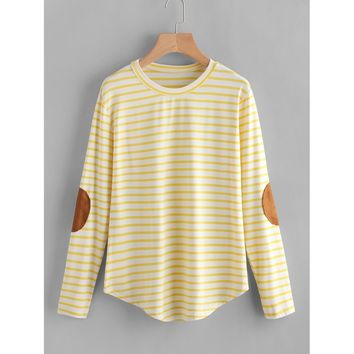 Elbow Patch Striped T-shirt Yellow