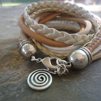 MIX in BEIGE nude WHITE wrap bracelet