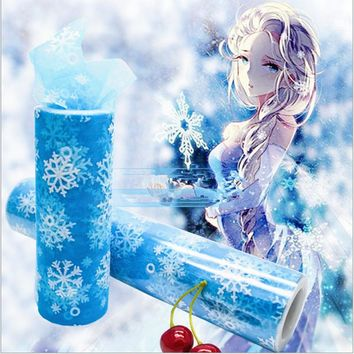 15cm*10Y Snowflake Organza Sheer Gauze Element Table Runner