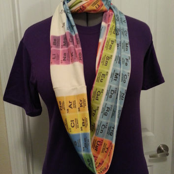 Periodic Table Infinity KNIT scarf - made to order