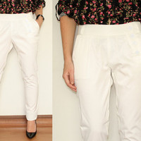 White Pants Casual Trousers for Women Office Fashion
