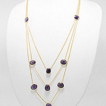 "24"" 18K Gold Plated Brass Statement Necklace with Amethyst"
