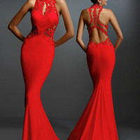 Red Cut-out Lace Mermaid Evening Dress