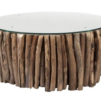 Round Natural Stick Coffee Table with Glass Top