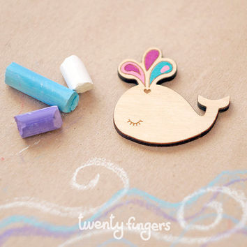 Wood Baby Whale brooch  - laser cut wood & hand painted