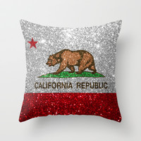Glitter California Republic Flag Throw Pillow by NorCal