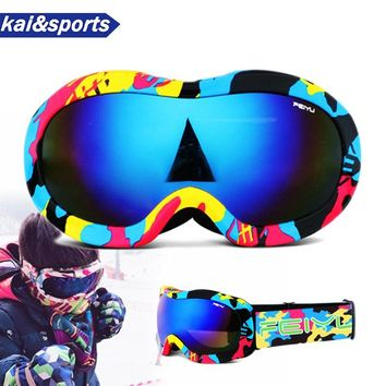 New Professional Children Double Ski Goggles Skiing Goggles for Kids snowboard goggles UV HD anti fog Windproof eyewear for ski