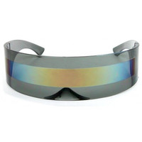 SPACE ROBOT PARTY COSTUME CYCLOPS FUTURISTIC SHIELD SUN GLASSES Gold Mirror Lens