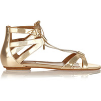 Aquazzura - Beverly Hills mirrored-leather flat sandals