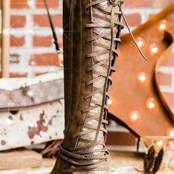 Glitter & Lace Boots - Brown