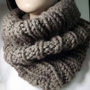 Hand Knit Cowl- Chunky Long Rib Cowl- Taupe Winter Fashion Accessories