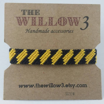 Black and Yellow Diagonal Handmade Friendship Bracelet - 12 Strands