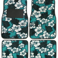 Green Hawaiian Flower Floor Mat Carpet Girly Car Accessory