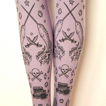 Pirate Printed Tights Sailor Tattoo Large Black on Lavender Lilac Pastel Purple Women Octopus Narwhal Squid