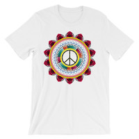 Peace sign mandala Unisex short sleeve t-shirt