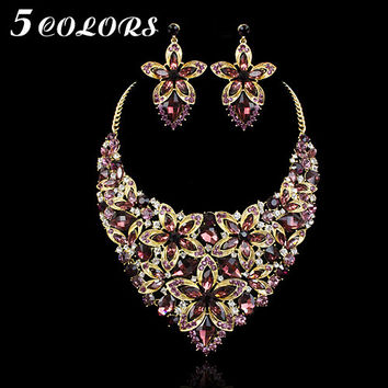 5Colors Luxury Gold Plated Big Blue Crystal Flower Pendant Necklace Earring Set Women Wedding Prom Jewelry Set Gift for Women