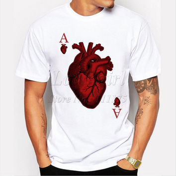 Latest 2017 men's fashion designer heart poker t-shirt funny tee shirts Hipster O-neck popular tops