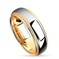 6mm Milled Edge Two Tone Gold IP Stainless Steel Women's Ring Wedding Band