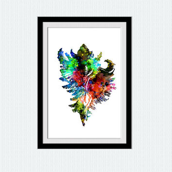 Nautical watercolor poster Sea shell colorful print Nautical decor gift Home decoration illustration Kids room decor Wall hanging art  W200