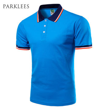 Brand Blue Polo Men Short Sleeve 2017 Mens Summer Fashion Solid Color Polo Shirts Casual Style Polos Polo Homme Plus size 4XL