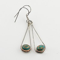 Blue Copper Turquoise Two Tone Sterling Silver Earrings