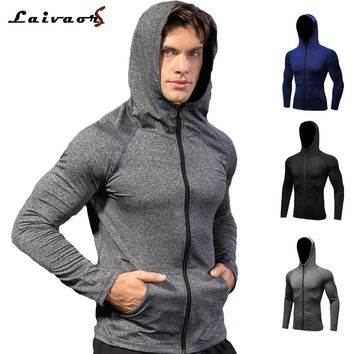 Men Zipper Hooded Workout Clothes Long Sleeve Quick Dry Activewear Running Sportswear Fitness Basketball Training Jogging Jacket