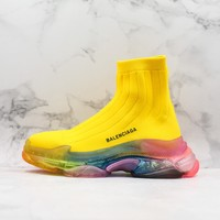 Balenciaga Yellow Knit Sock Sneakers With Rainbow Clear Sole - Best Online Sale