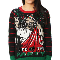 Ugly Christmas Sweater Women's Jesus Is The Life Of The Party Sweater