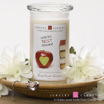 World's Best Teacher - Jewelry Greeting Candles