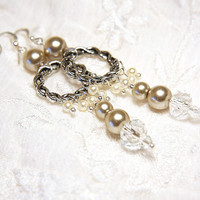 Bridal Earrings - Light Champagne Pearl and Crystal - Sterling Silver - Winter Wedding - Grad Dance - Evening Gala - Company Christmas Party