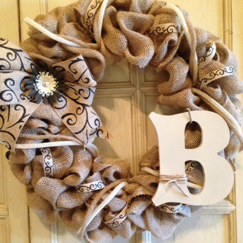 Burlap Monogram Wreath with decorative scroll design ribbon fabric flower and painted letter, burlap wreath, monogram wreath, spring wreath,