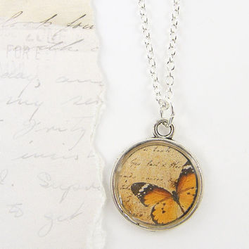 Monarch Butterfly Necklace Orange Brown Tan Insect Jewelry Silver Resin Nature Charm Pendant