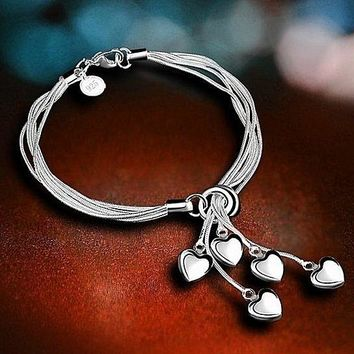 Silver Plated Heart Charm Bracelets