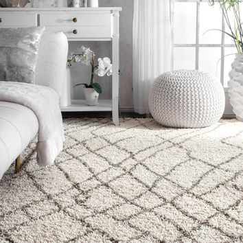 nuLOOM Moroccan Inspired Luxuries Soft and Plush Abstract Zigging Stripes Shag Ivory Rug (9' x 12') | Overstock.com Shopping - The Best Deals on 7x9 - 10x14 Rugs