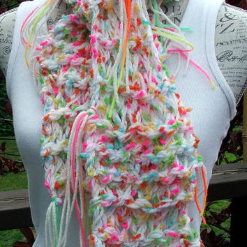 "Knit Scarf. Scarves. Neon. White. Chunky Scarf. Made by Bead G's on ETSY. 50"" in length. Fashion scarf"