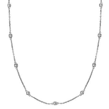 Diamonds by The Yard Bezel-Set Necklace in 14k White Gold (1.50 ctw)