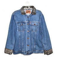 Womens Vintage Denim Jacket Animal Print Leopard 80s 90s Oversized Large L
