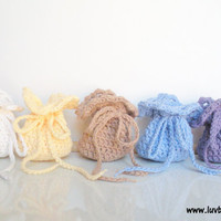 Crochet Wedding Favor Bags, set of 20, party favor bags, gift bags, MADE TO ORDER.