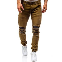Men Hole Distressed Jeans Skinny Jeans Ripped Slim Mens Biker Jeans Fashion Trousers Medium Wash Streetwear Hip Hop Pants Jogger