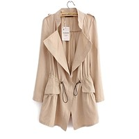 Women Pleated Pocket Trench coat With adjustable Elastic Cinch Waist