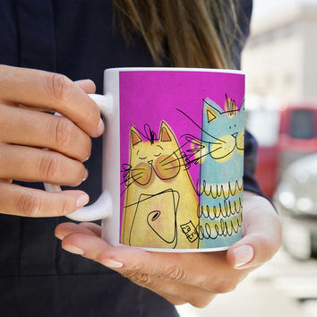 MUG 11oz - Happy Cats - Washdisher and microwave - Gift for Her - Cat Person
