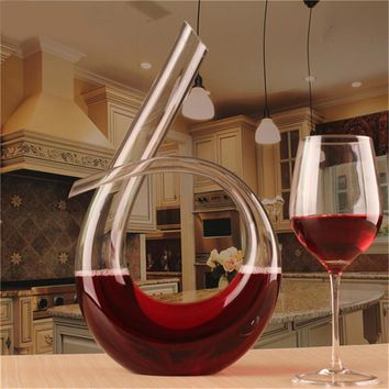 High Quality Lead-free Crystal Glass - Number 6 Shape Wine Pourer Wine Decanter Red Wine Carafe Aerator 1200 ml