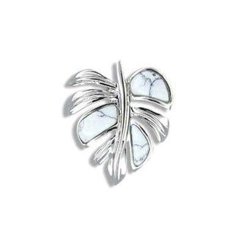 Sterling Silver White Turquoise Monstera Leaf Pendant