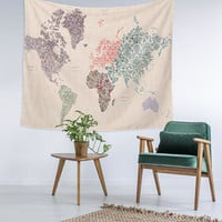 Floral Gypsy World Map Modern Wall Art College Apartment Unique Dorm Room Decor Trendy Wall Tapestry