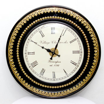 Aakashi Gold Black Carving Wall Clock