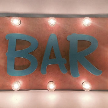SALE - SHADOW BOX Marquee lighted sign with Bar Open or Eat vintage inspired and made of Rusted Recycled Metal