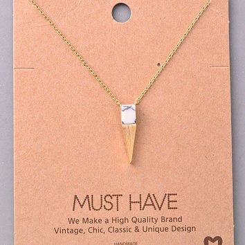 Dainty Spike and Stone Necklace - White, Rose or Turquoise
