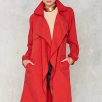 Trench Warmer Belted Coat - Red