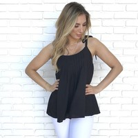 Montana Pleated Top in Black